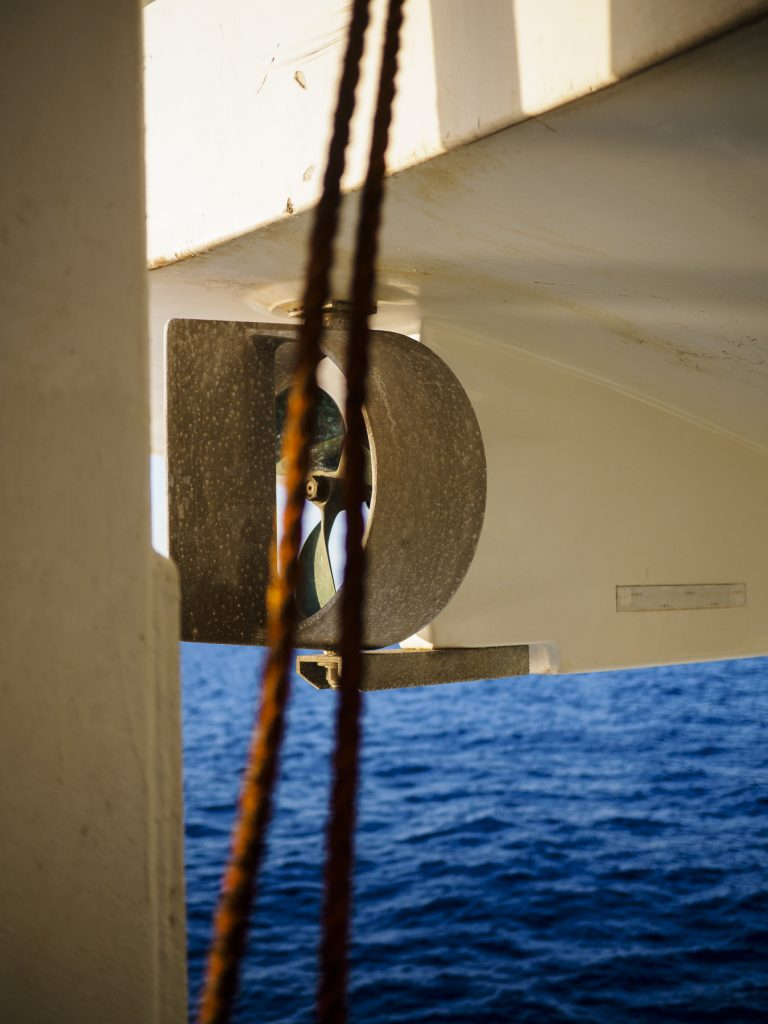 Bote salvavidas en el ferry Barcelona-Civitavecchia